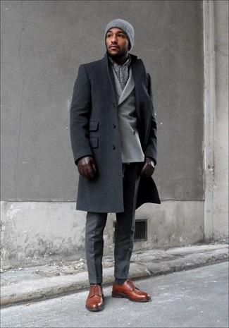 Темно-серое длинное пальто от Ermenegildo Zegna
