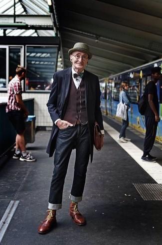 длинное пальто жилет классическая рубашка джинсы ботинки броги портфель шляпа галстук бабочка ремень large 13312