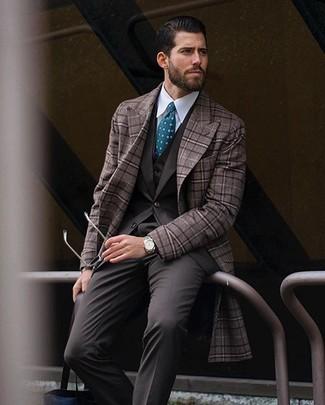 Коричневое длинное пальто в клетку от Lardini