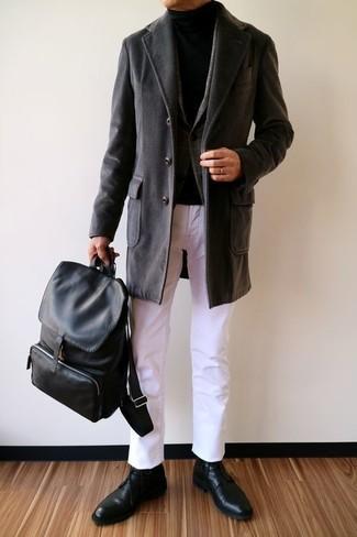 Как и с чем носить: черное длинное пальто, темно-серый шерстяной пиджак в шотландскую клетку, черная водолазка, белые брюки чинос