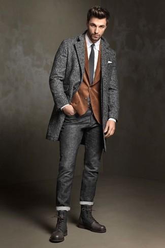 """Темно-серое длинное пальто с узором """"в ёлочку"""" от Etro"""