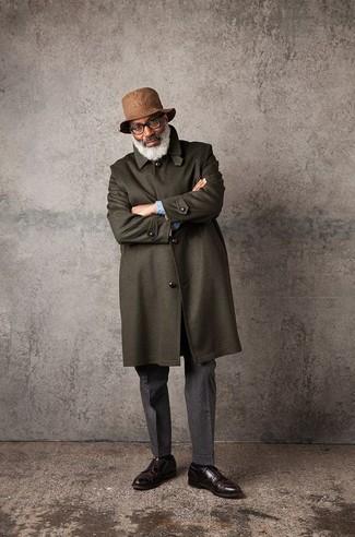 Мужские темно-серые шерстяные классические брюки от Selected