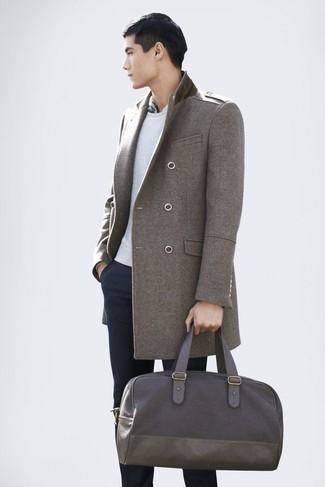 Мужской серый свитер с круглым вырезом от Topman