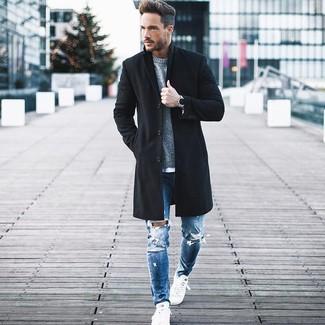 Мужской серый свитер с круглым вырезом от ADPT