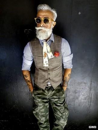 жилет рубашка с длинным рукавом брюки карго галстук бабочка ремень солнцезащитные очки large 12630