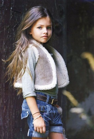 Детские синие джинсовые шорты для девочек от Miss Blumarine