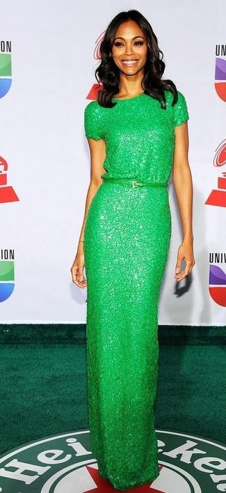 Как и с чем носить: зеленое кружевное вечернее платье