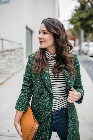 Модные женские луки 2020 фото: Составив образ из зеленого твидового пальто и темно-синих джинсов скинни, можно спокойно идти на свидание с парнем или мероприятие с друзьями в расслабленной обстановке.
