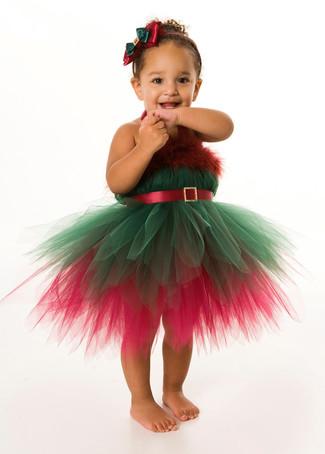 Как и с чем носить: зелено-красное новогоднее платье