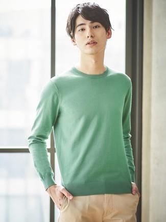 Мужской зеленый свитер с круглым вырезом от Puma