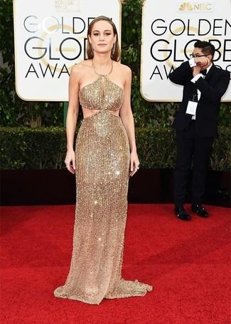 золотое вечернее платье из бисера золотые серьги large 15631
