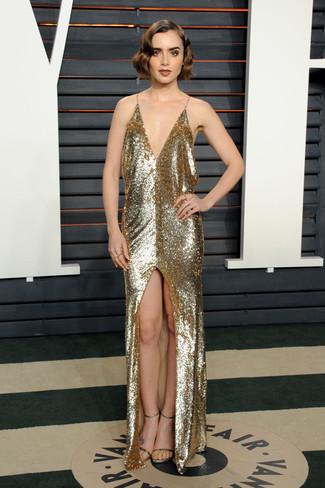 золотое вечернее платье с пайетками с разрезом золотые кожаные босоножки на каблуке large 22705