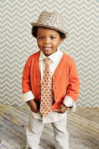 Детская белая рубашка с длинным рукавом в вертикальную полоску для мальчику от Armani Junior