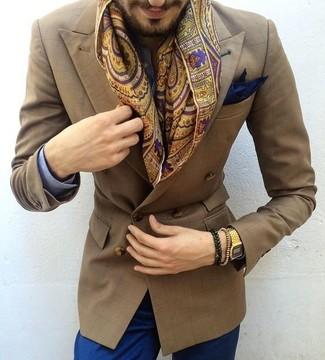 Как и с чем носить: синяя классическая рубашка в мелкую клетку, синие брюки чинос, коричневые кожаные монки с двумя ремешками, темно-синий нагрудный платок