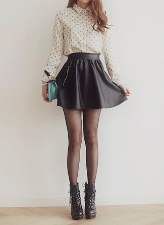 Черная юбка солнце с рубашкой