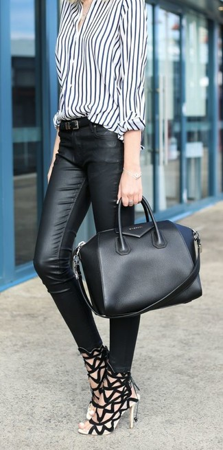 Женский черный кожаный ремень от Giuseppe Zanotti Design