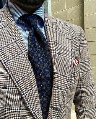 """Как и с чем носить: коричневый шерстяной пиджак с узором """"гусиные лапки"""", бело-синяя классическая рубашка в вертикальную полоску, темно-синий галстук с принтом, темно-красный нагрудный платок с принтом"""
