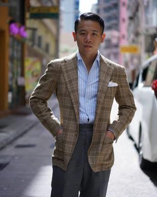Как и с чем носить: коричневый пиджак в шотландскую клетку, голубая рубашка с длинным рукавом в вертикальную полоску, темно-серые классические брюки, белый нагрудный платок