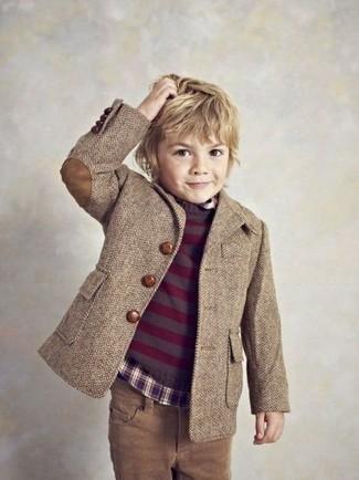 Как и с чем носить: коричневый пиджак, темно-пурпурный свитер, темно-пурпурная рубашка с длинным рукавом, коричневые джинсы