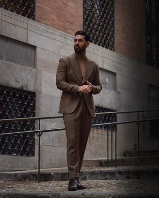 коричневый шерстяной костюм мужской