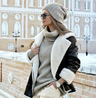 с чем носить серую вязаную шапку женщине модные луки 29 фото