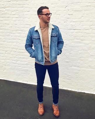 С чем носить синюю джинсовую короткую дубленку мужчине: Синяя джинсовая короткая дубленка и темно-синие зауженные джинсы — обязательные вещи в гардеробе современного жителя мегаполиса. Хочешь сделать лук немного строже? Тогда в качестве обуви к этому образу, стоит выбрать табачные кожаные повседневные ботинки.