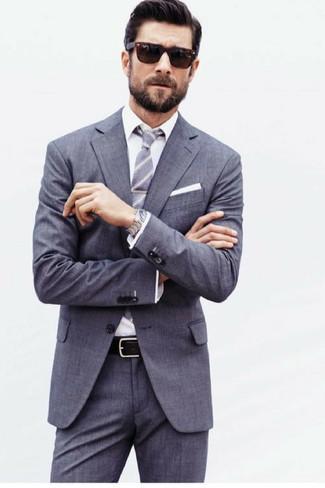 Как и с чем носить: серый костюм, белая классическая рубашка, серый галстук в вертикальную полоску, белый нагрудный платок