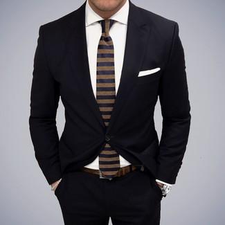 Модный лук: Черный костюм, Белая классическая рубашка, Темно-синий галстук в горизонтальную полоску, Белый нагрудный платок