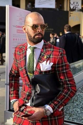 Как и с чем носить: красный костюм в шотландскую клетку, белая классическая рубашка, черный кожаный мужской клатч, оливковый галстук с принтом