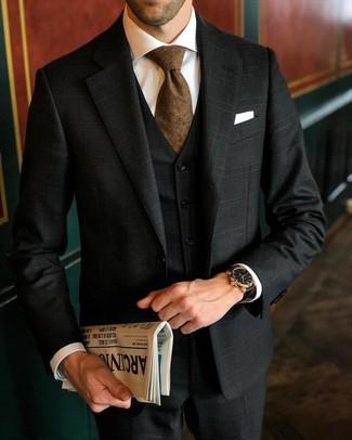 Как и с чем носить: черный костюм-тройка в шотландскую клетку, белая классическая рубашка, коричневый галстук, белый нагрудный платок