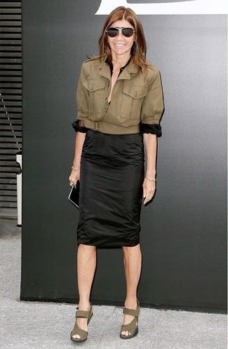 косуха блуза на пуговицах юбка карандаш large 12327