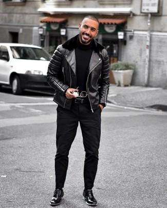 Как и с чем носить: черная кожаная косуха, черная водолазка, черные джинсы, черные кожаные ботинки дезерты