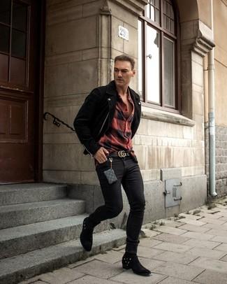 Как и с чем носить: черная замшевая косуха, красно-черная фланелевая рубашка с длинным рукавом в клетку, черные зауженные джинсы, черные замшевые ковбойские сапоги