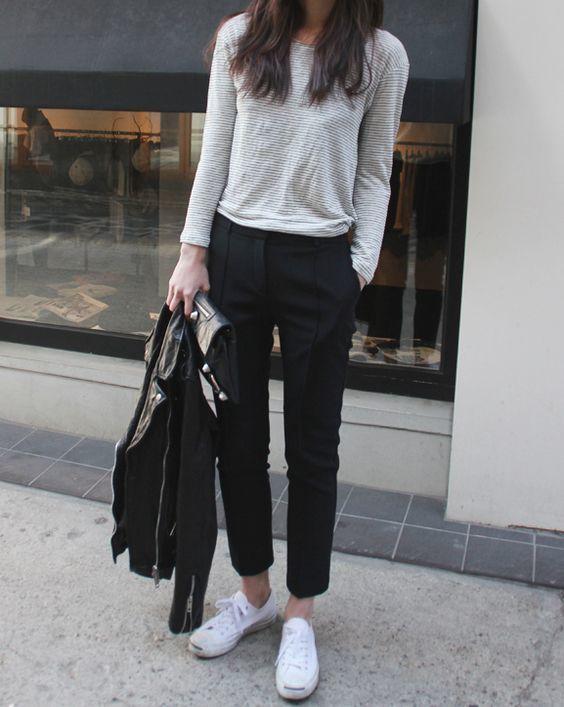 фото с чем носить черные классические брюки