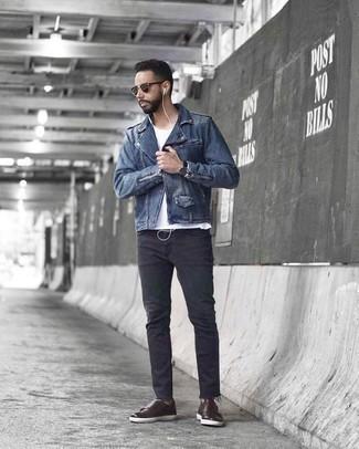 Темно-коричневые кожаные монки с двумя ремешками: с чем носить и как сочетать: Синяя косуха и темно-серые джинсы — хороший вариант, если ты хочешь составить лёгкий, но в то же время стильный мужской образ. Хочешь добавить сюда толику строгости? Тогда в качестве дополнения к этому ансамблю, стоит обратить внимание на темно-коричневые кожаные монки с двумя ремешками.