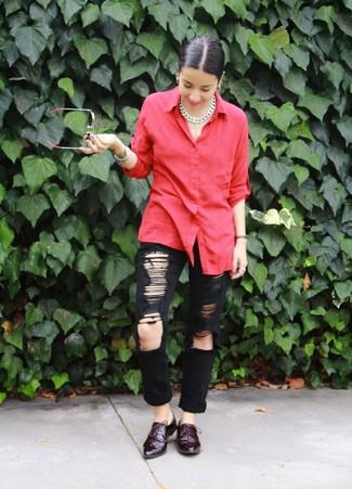Женские темно-красные кожаные оксфорды от T.Taccardi