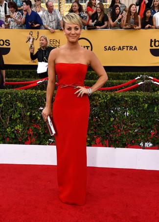 красное вечернее платье серебряный клатч large 8022