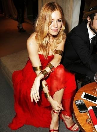 красное шифоновое вечернее платье красные шелковые босоножки на каблуке large 1398