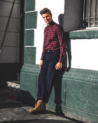 4aefc1fcfe81c9e Как и с чем носить: красно-темно-синяя рубашка с длинным рукавом в