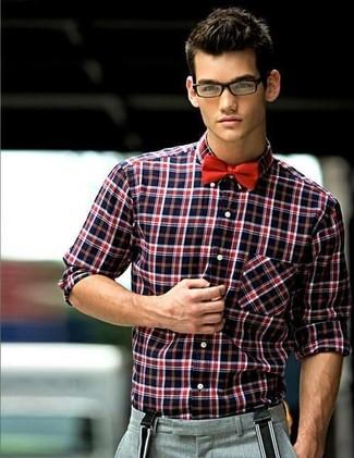 de1d3b3a979179d Как и с чем носить: красно-черная рубашка с длинным рукавом в шотландскую  клетку