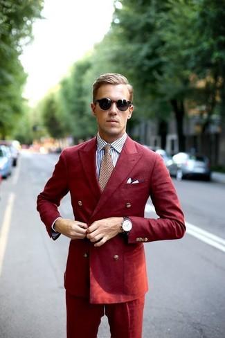 Как и с чем носить: красный костюм, белая классическая рубашка в вертикальную полоску, красный галстук с принтом, белый нагрудный платок