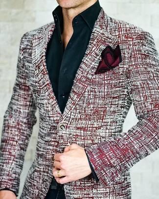 Как и с чем носить: красный твидовый пиджак, черная классическая рубашка, черные классические брюки, темно-красный шелковый нагрудный платок