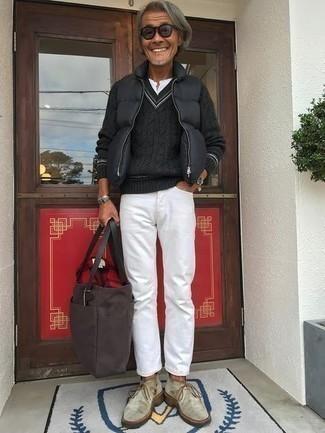 Мужской темно-серый свитер с v-образным вырезом от Baon