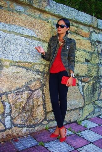 Оливковая куртка в стиле милитари с камуфляжным принтом от Amiri