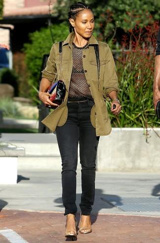 куртка в стиле милитари футболка с круглым вырезом джинсы large 27412