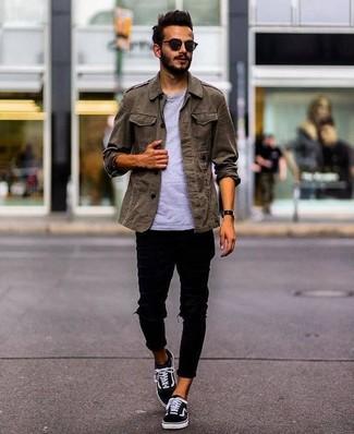 Мужская оливковая куртка в стиле милитари от History Repeats