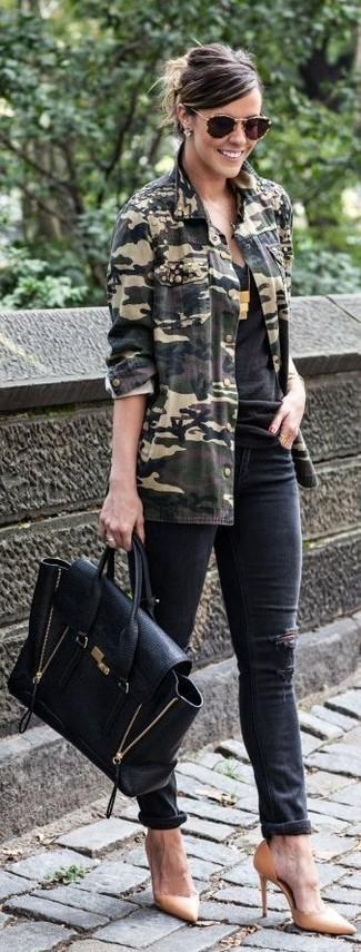 Оливковая куртка в стиле милитари с камуфляжным принтом от Current/Elliott