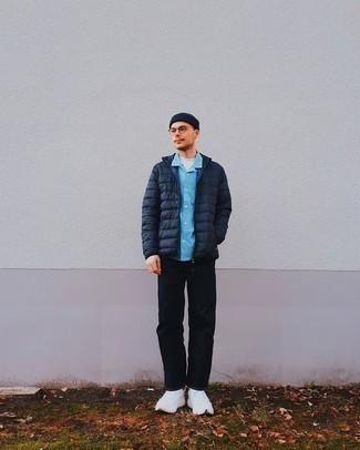 Мужская темно-синяя шапка от GUESS