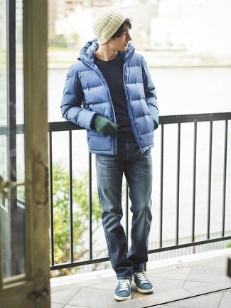 Мужской темно-синий свитер с круглым вырезом от River Island