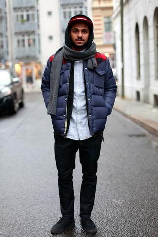 Мужская темно-синяя куртка-пуховик от Grishko